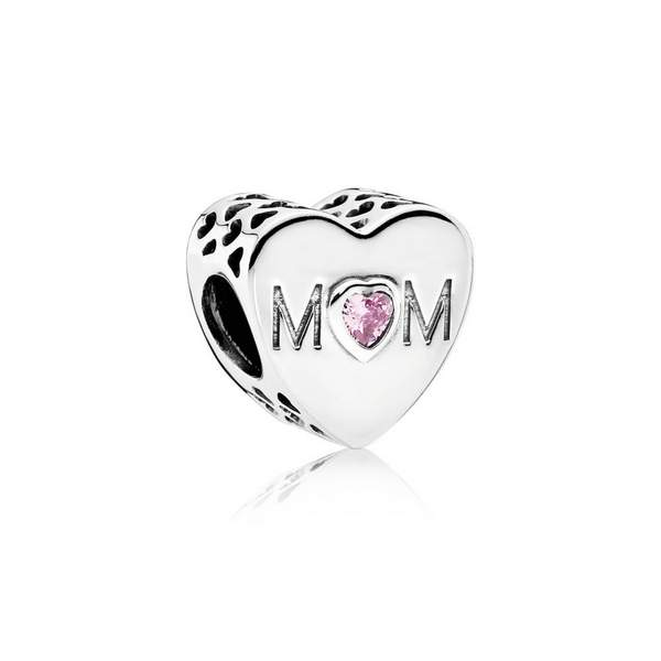 mother heart openwork heart charm
